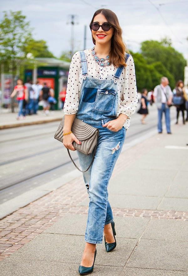 long-denim-overall-street-style polka dots blutype shirt 50s pois